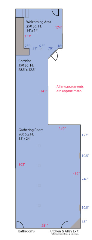 Floor Plan Measurements of The Dille Event Center
